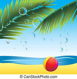 sandstrand, handfläche, kugel, zweige