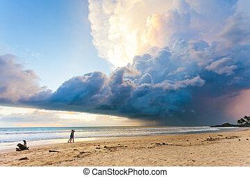 sandstrand, himmelsgewölbe, sri, -, ahungalla, lanka, sonnenuntergang, während, reizend, sandstrand, landschaftsbild