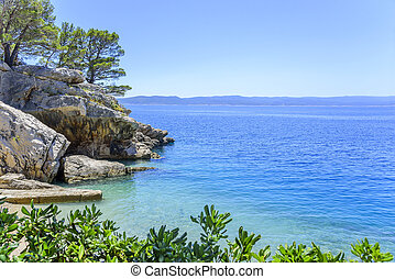 sandstrand, in, brela, auf, makarska, riviera., croatia.
