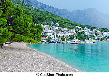 sandstrand, in, brela, kroatien, makarska, riviera,...