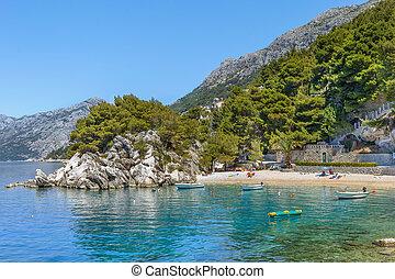 sandstrand, in, brela, kroatien