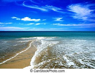 sandstrand, in, der, sommer