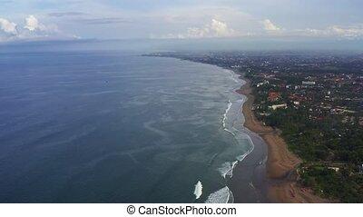 sandstrand, indonesia., ansicht, luftaufnahmen, bali