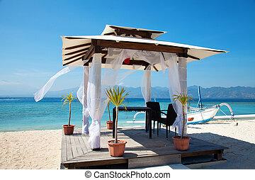 sandstrand, inseln, hochzeiten, pavillon, gili