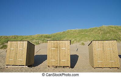 sandstrand, kabinen
