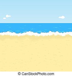 sandstrand, karikatur