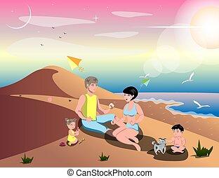 sandstrand, karikatur, familie, reizend
