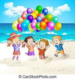sandstrand, Kinder, luftballone