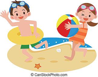 sandstrand, kinder, spielen