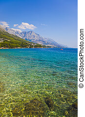 sandstrand, kroatien, brela