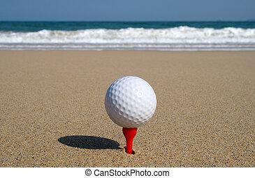 sandstrand, kugel, golfen, sein, ocean., bereit, schlag