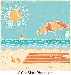 sandstrand, landschaft., papier, altes , abbildung, meer, vektor, szene, weinlese