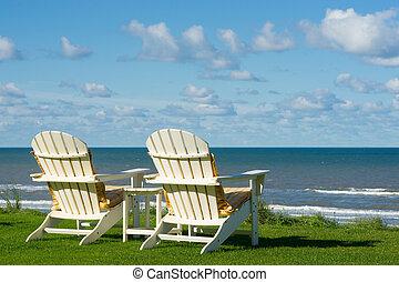 sandstrand, leerer , stühle, zwei, meado