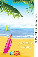 sandstrand, leisure., sommer feiertag
