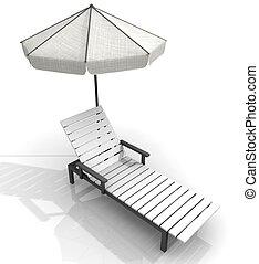 sandstrand, liegestuhl