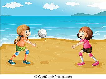 sandstrand, mädels, spielen von volleyball