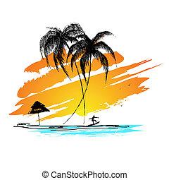 sandstrand, meer