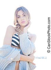 sandstrand, modell, mode, posierend