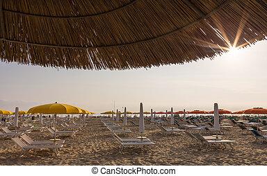 sandstrand, morgen