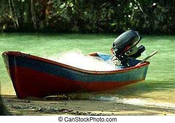 sandstrand, motorboot