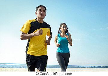 sandstrand, paar, begriff, sport, rennender