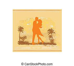sandstrand, paar, tropische , küssende , silhouette