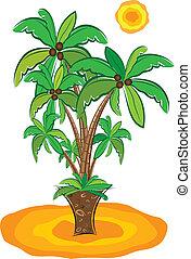 sandstrand, palmen
