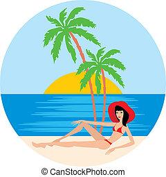 sandstrand, palmen, tropische