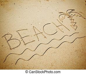 sandstrand, sand, wort, geschrieben