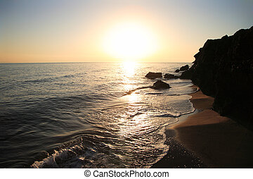 sandstrand, sonnenaufgang