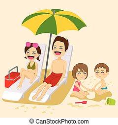 sandstrand, sonnenbaden, familie