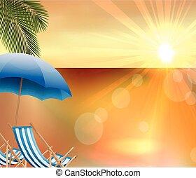 sandstrand, sonnenuntergang