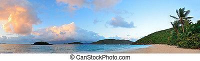 sandstrand, sonnenuntergang, panorama