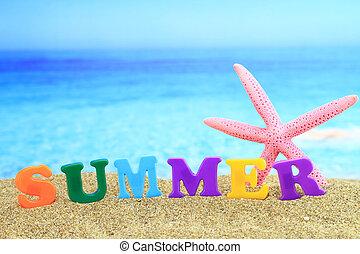 sandstrand, summertime., ?summer?, wort