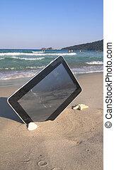 sandstrand, tablette, edv