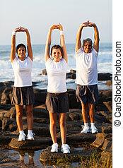 sandstrand, trainieren, familie