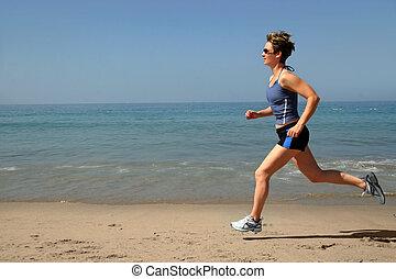 sandstrand, trainieren