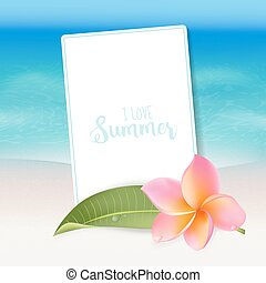 sandstrand, tropische , realistisch, karte, flower., meer, text., vektor, hintergrund.