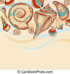 sandstrand, vektor, hintergrund, mit, meeresmuscheln