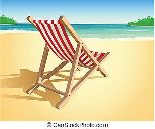 sandstrand, vektor, stuhl
