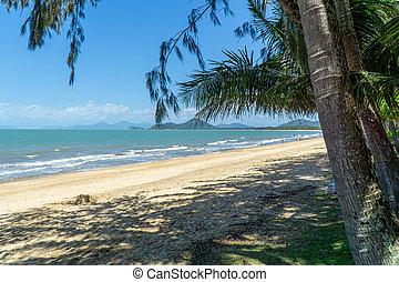sandstrand, verlassen, nord, clifton, fast, australia,...