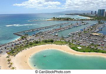 sandstrand, waikiki, hawaii, über, schauen, marina, honolulu...