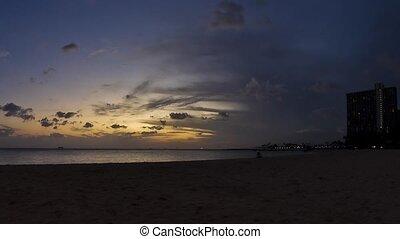 sandstrand,  waikiki,  Timelapse, Sonnenuntergang