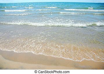 sandstrand, welle, sand