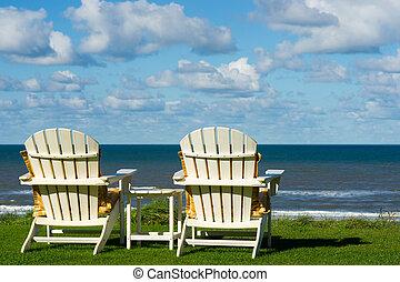sandstrand, wiese, leerer , stühle, zwei