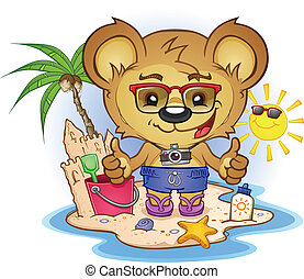 sandstrand, zeichen, karikatur, bär, teddy