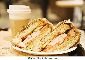 sanduíche, café