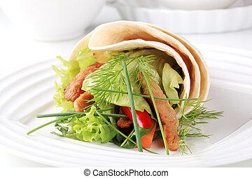 sanduíche, envoltório, vegetariano