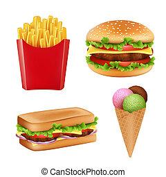 sanduíche, hamburger, icecream, alimento, frita, isolado, rapidamente, realístico, vetorial, bebidas, ilustrações, pictures., gelado, pão, 3d
