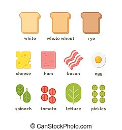 sanduíche, ilustração, ingredientes